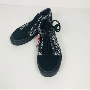 VANS Off The Wall Black Sole Skater Shoes Unisex